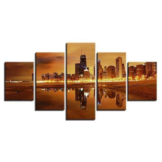 Chicago City Skyline At Sunset Canvas Wall Art Prints