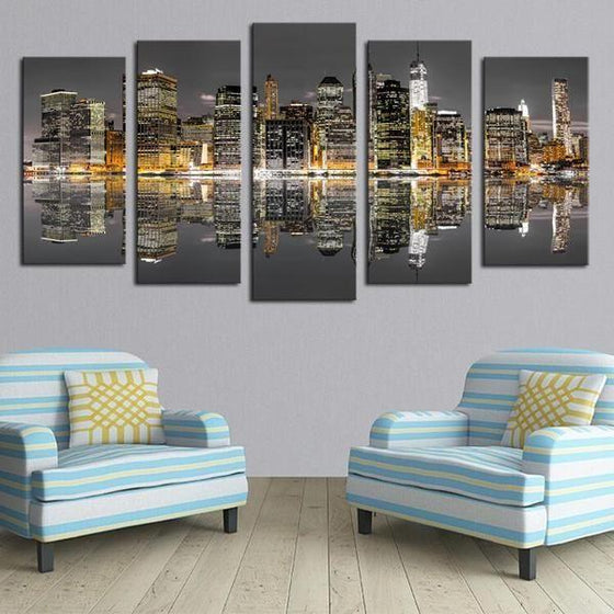 Chicago Skyline Night View Canvas Wall Art