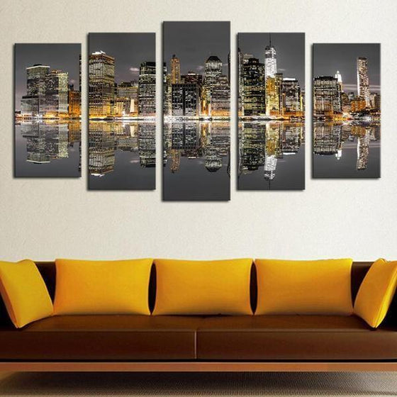 Chicago Skyline Night View Canvas Wall Art Living Room