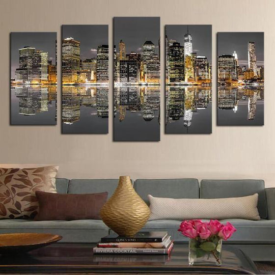 Chicago Skyline Night View Canvas Wall Art Home Decor