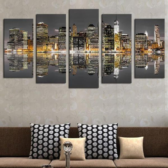 Chicago Skyline Night View Canvas Wall Art Living Room Ideas