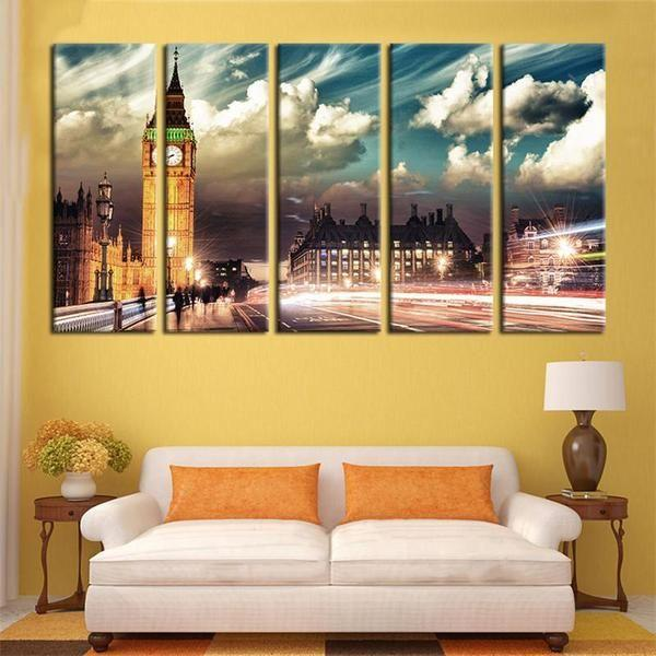 Limited Edition London City Skyline Big Ben Canvas Wall Art ...