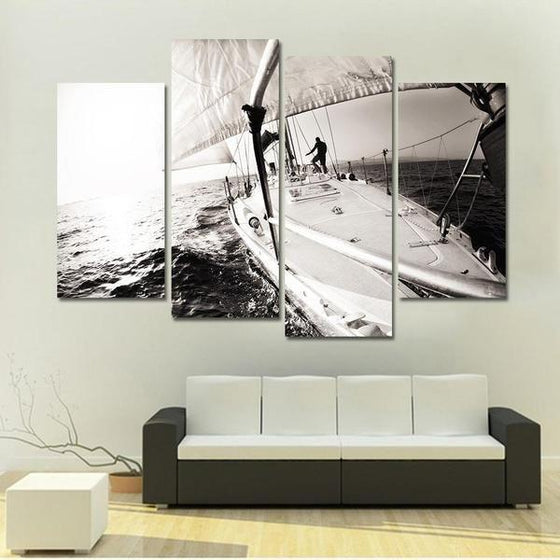Black & White Boat In The Sea Canvas Wall Art Living Room Decor