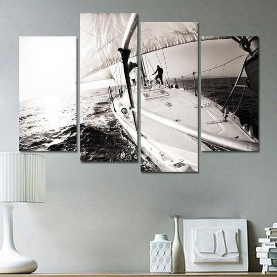 Black & White Boat In The Sea Canvas Wall Art Bedroom