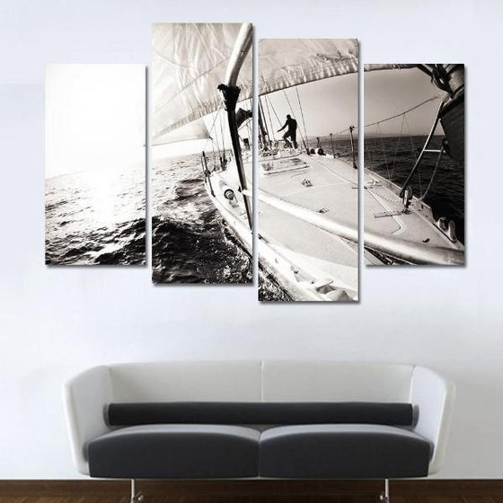 Black & White Boat In The Sea Canvas Wall Art Decor