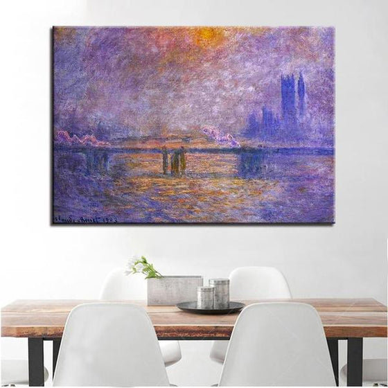 Charing Cross Bridge by Claude Monet Canvas Print Wall Art Dining Room