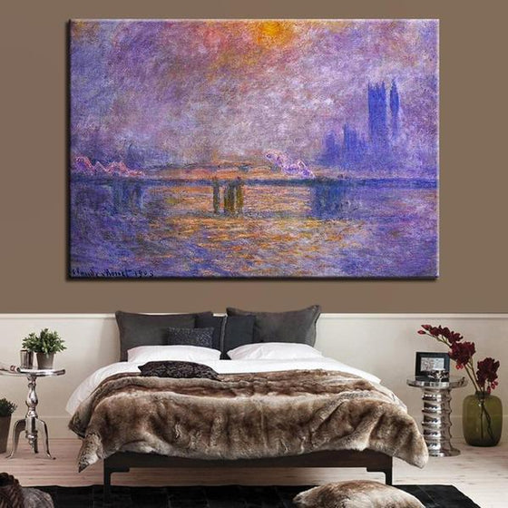 Charing Cross Bridge by Claude Monet Canvas Print Wall Art Bedroom
