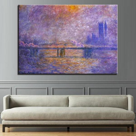 Charing Cross Bridge by Claude Monet Canvas Print Wall Art Living Room