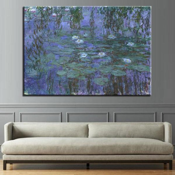 Blue Water Lilies by Claude Monet Canvas Wall Art Living Room