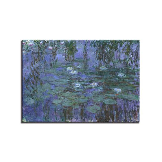 Blue Water Lilies by Claude Monet Canvas Wall Art Decor