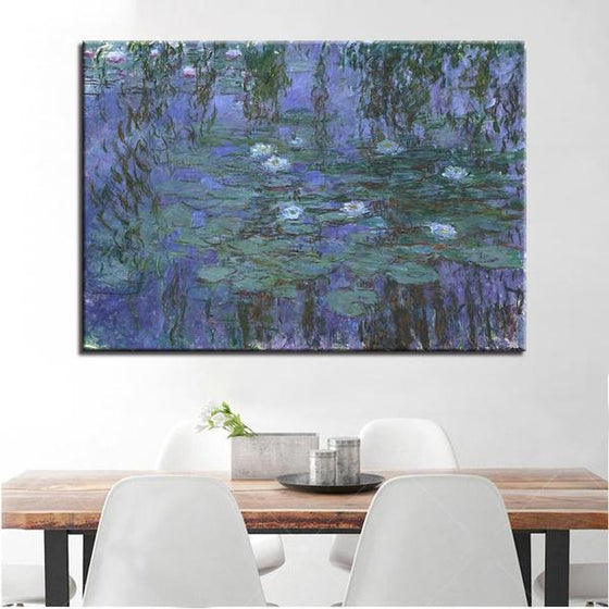 Blue Water Lilies by Claude Monet Canvas Wall Art Dining Room