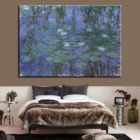 Blue Water Lilies by Claude Monet Canvas Wall Art Bedroom
