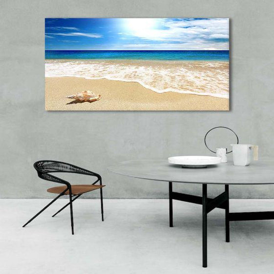 Clean Beach Side View Canvas Wall Art Print