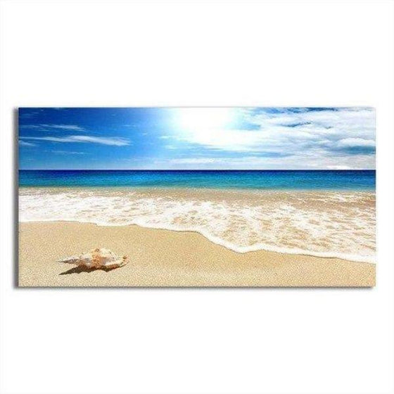 Clean Beach Side View Canvas Wall Art