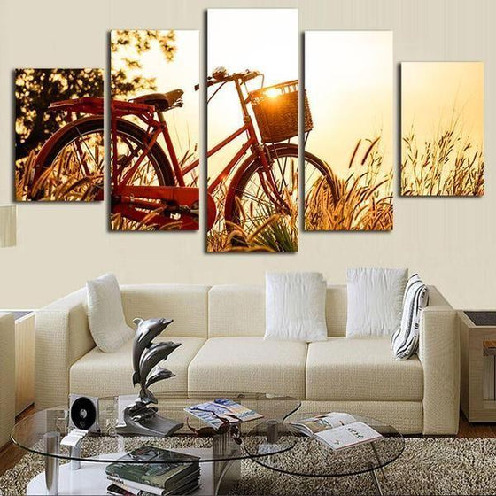 Bicycle And Sunrise Canvas Wall Art Living Room Decor