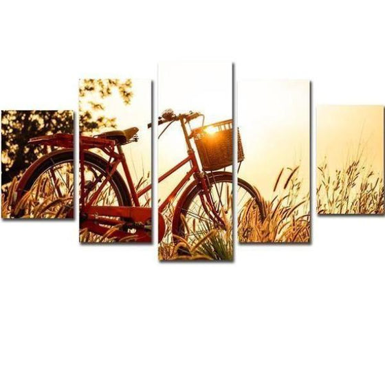 Bicycle And Sunrise Canvas Wall Art
