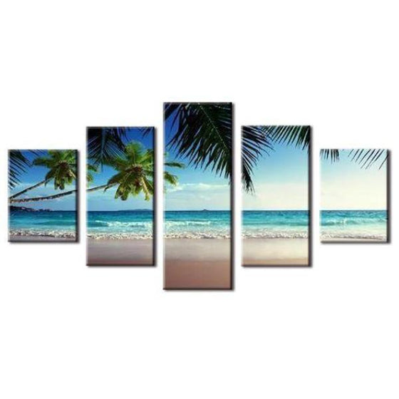 Coconut Trees At The Beach Canvas Wall Art Ideas
