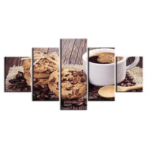 Coffee And Choco Chip Cookies Canvas Wall Art