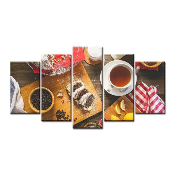 Coffee Beans & Cake Canvas Wall Art