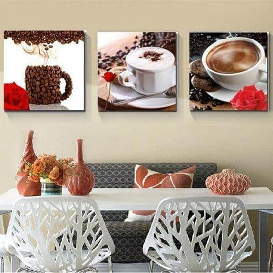 Coffee Cup & Coffee Beans Canvas Wall Art Dining Room