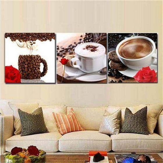 Coffee Cup & Coffee Beans Canvas Wall Art Living Room