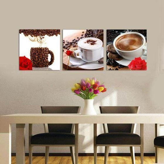 Coffee Cup & Coffee Beans Canvas Wall Art