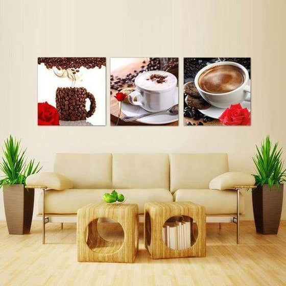 Coffee Cup & Coffee Beans Canvas Wall Art Home Decor