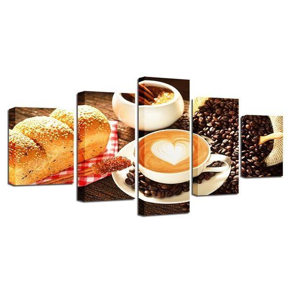 Set Of 3 Coffee Cup Canvas Wraps: Spiced Cup Of Coffee Canvas Wall Art