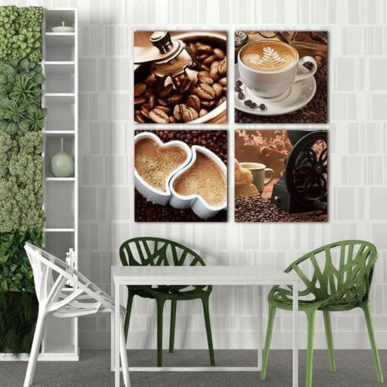 Coffee Kitchen Metal Wall Art Canvases
