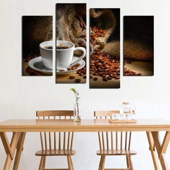 Cup Of Coffee & Beans Canvas Wall Art Home Decor