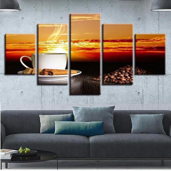Coffee With Sunset Canvas Wall Art Living Room