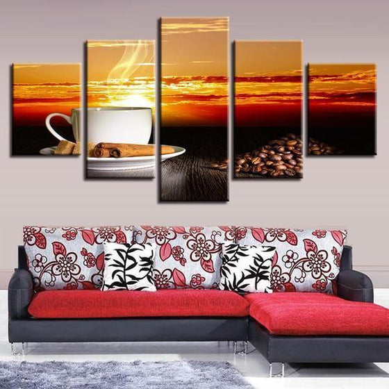 Coffee With Sunset Canvas Wall Art Home Decor