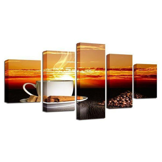 Coffee With Sunset Canvas Wall Art Ideas