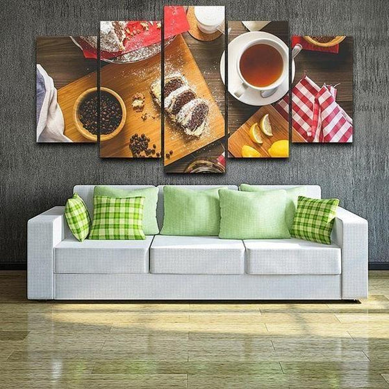 Coffee Beans & Cake Canvas Wall Art Living Room