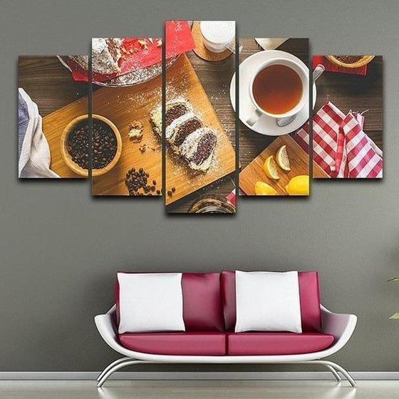 Coffee Beans & Cake Canvas Wall Art Home Decor