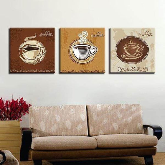 Coffee Cups For Restaurant Canvas Wall Art