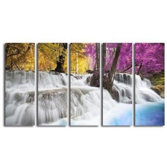 Colored Trees & Waterfalls Canvas Wall Art Ideas