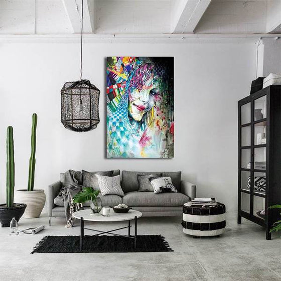 Colorful Abstract Woman Wall Art Living Room