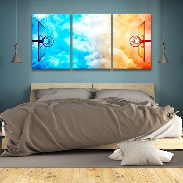 Colorful Basketball Hoops 3 Panels Canvas Wall Art Bed Room