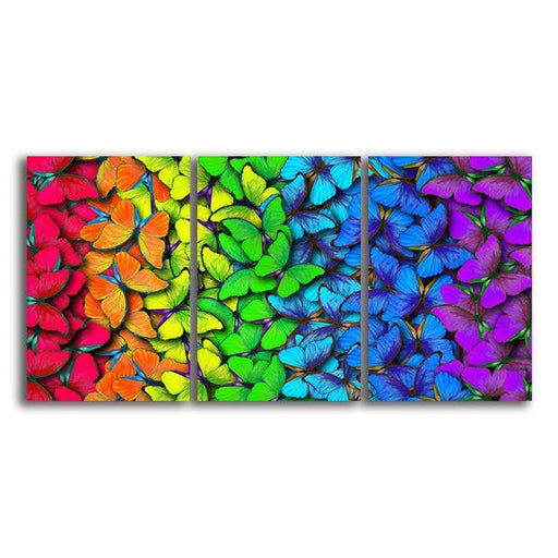 Colorful Butterflies 3 Panels Canvas Wall Art