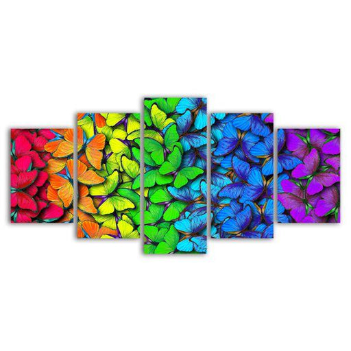 Colorful Butterflies 5 Panels Canvas Wall Art