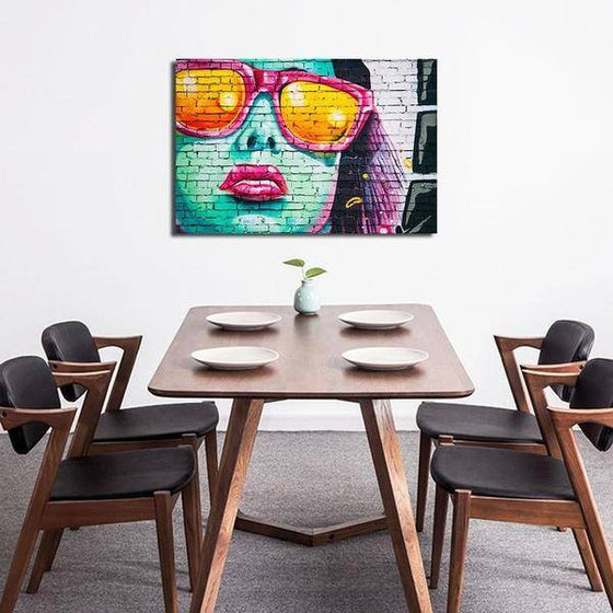 Colorful Contemporary Graffiti Wall Art Dining Room