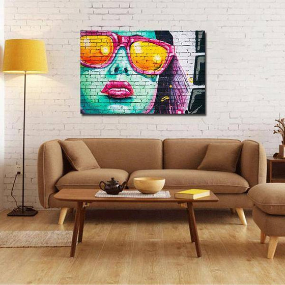 Colorful Contemporary Graffiti Wall Art Living Room