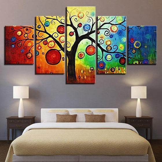 Colorful Contemporary Tree Wall Art Bedroom
