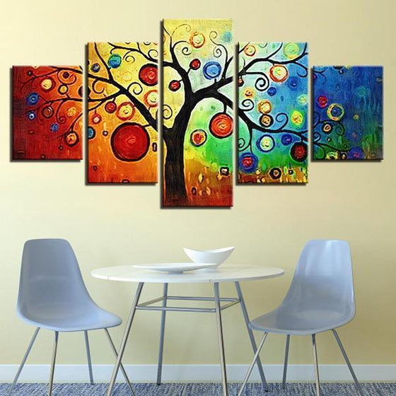 Abstract Tree Leaves Canvas Wall Art Dining Room