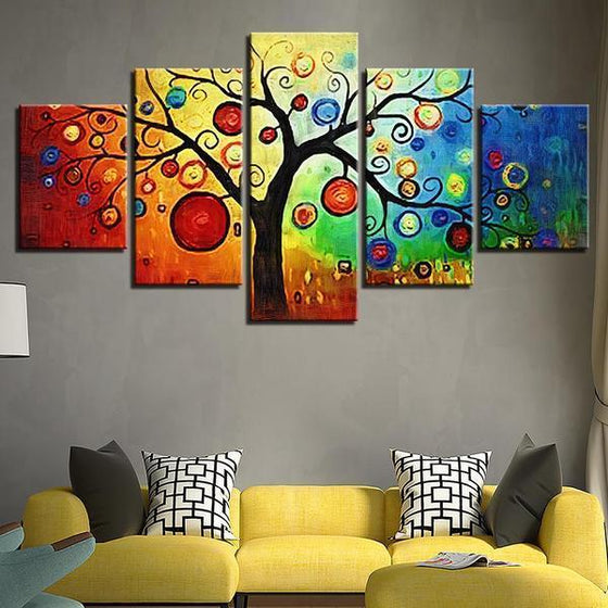 Abstract Tree Leaves Canvas Wall Art Living Room