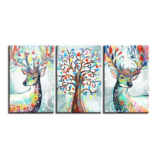 Colorful Deer Antlers Wall Art Decor