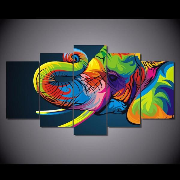 Colorful Elephant Trunk Wall Art Canvas