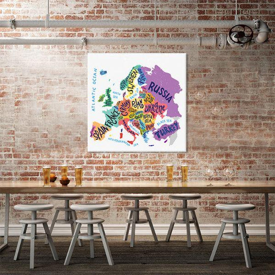 Colorful European Map Canvas Wall Art Dining Room