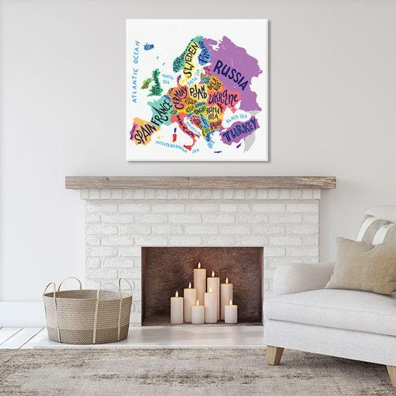 Colorful European Map Canvas Wall Art Living Room